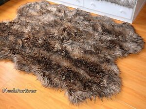 """36"""" x 58"""" Brown Mountain Coyote Exotic Faux Fur Area Rug Sheepskin Shape Cabin"""