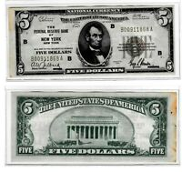 1929 $5 THE NATIONAL CITY BANK OF NEW YORK, NY NATIONAL CURRENCY, Brown Seal