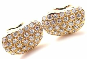 Authentic! Tiffany & Co Elsa Peretti Bean 18k Yellow Gold Diamond Cufflinks