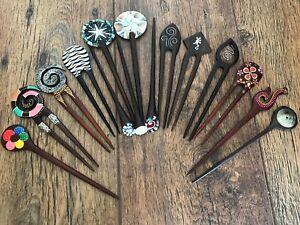 Wooden Hair Stick Pin Clip Grip 2 Prong Chopstick Bun Hairpin Hair Accessories