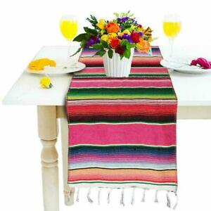 1* Mexican Striped Picnic Tablecloth Table Runner Wedding T1Y5 Birthday Best