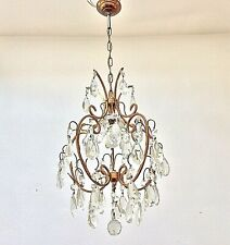 Antique Vintage Italian Cage Crystal Glass Drops Chandelier Lamp Lustre Brass