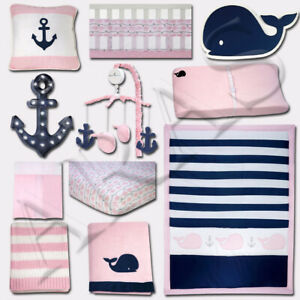 Nautica Kids 11 pc. (Mobile included) Pink Crib Bedding Set