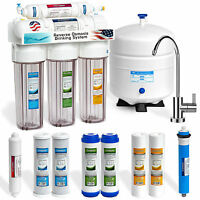 5 Stage 50 GPD Undersink Reverse Osmosis System CLEAR + MODERN + EXTRA 4 FILTERS