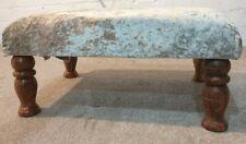 Foot rest Pouffe Stool wooden legs, silver Crushed Glitz Velvet.