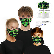 2 - Face Mask Weed Leaf Marijuana 420 Cannabis Wash & Reuse with 4 PM 2.5 Filter