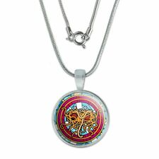"""Flying Spaghetti Monster Stained Glass 0.75"""" Pendant w/ Silver Plated Chain"""