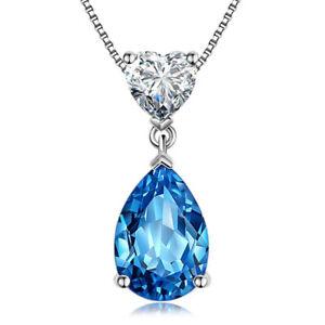 925 Silver Created Drop London Bule Topaz & Heart Diamond Pendant / Necklace