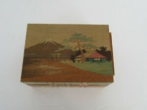 Vintage Japanese Japan Wood Painted Puzzle Box, Mt Fuji