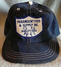 VTG Paramount Feed & Supply Patch Snapback Farm Hat Blue Denim Free Shipping!