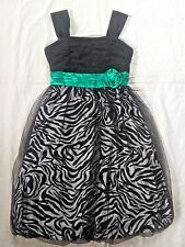 Size 12 Speechless Girls Dress Green Black Sparkle Animal Print Party Christmas