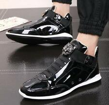 Mens Gold Patent Leather High Top Sports Casual Sneakers Athletic Shoes New Size