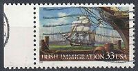USA Briefmarke gestempelt 33c Irish Immigration Rand links Jahrgang 1999 / 725
