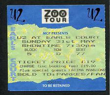 U2 1992 Zoo Tv Tour Concert Ticket Stub Achtung Baby Earls Court London Bono