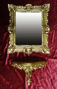 Set Wall Mirror + Console Bracket Table Repro Baroque Antique 44x38 CM