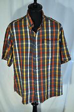 Vintage blue check short sleeve shirt size large western rockabilly grunge