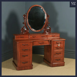 Antique English Victorian Mahogany Pedestal Dressing Table with Mirror