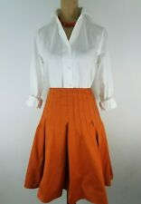 Robert Rodriguez Womens Skirt Size 6 Orange Pleated Pintucked Fit Flare