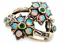 Emerald & Opal Diamond Vintage Flower Ring, 9ct 9k Solid Rose Gold, R68 Custom
