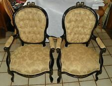 Pair of Mahogany Black Lacquer Ormulu Armchairs / Parlor Chairs by Sefert (Ac94)