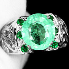 SPECTACULAR 7.5 CT. GREEN EMERALD OVAL CUT STERLING 925 SILVER RING SZ 9.25 US.