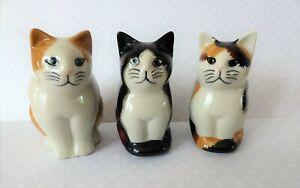 3x Quail Ceramic Small Cat Figurines- Cecily Poppy Splodge