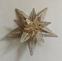 Vintage silver filigree brooch