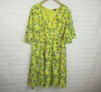 Torrid women's size 22 Yellow Floral Faux Wrap Sun Dress Short Sleeve