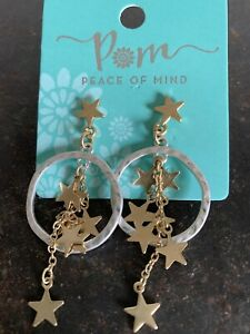 POM Boutique Silver Plated Gold Multi Star Cluster And Silver Hoop Earrings