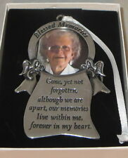Blessed Memories Photo Ornament Memorial Angels Christmas Pewter New Picture