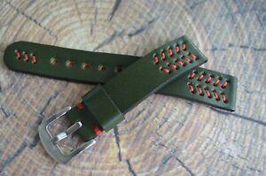 Green leather watch strap 18mm 19mm 20mm 21mm 22mm 23mm 24mm 25mm 26mm handmade