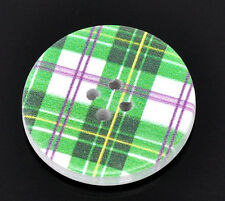 10 Wooden painted Green Check  BUTTONS 30mm 3cm  Sewing crafts