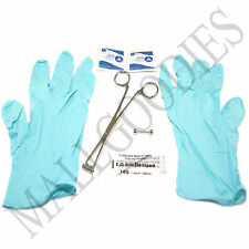W117 Septum 14G Piercing Kit Clamp Needle Gloves Alcohol Wipes 7pc Set Barbell