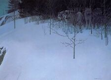 Robert Bateman CLEAR NIGHT WOLVES giclee canvas FREE S/H & Ins. to USA & CANADA
