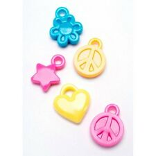 """100 Charms Darice Brand Heart Flower Peace Sign Bright Colors 3/4"""" 19mm ABCraft"""