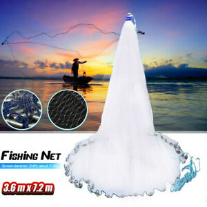 "12ft 24ft Spread Quick Throw Fishing Cast Net Saltwater Bait 3/4"" Mesh +"