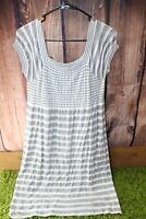 JJ Authentic Gray White Medium/Large Women's Dress