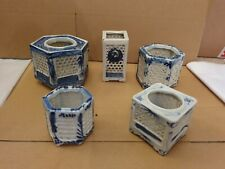 More details for 5 of antique chinese blue & white reticulated porcelain cricket cages brush pots