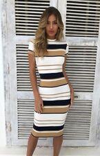 UK Women Striped Bodycon Short Sleeve Summer Holiday Ladies Midi Dress Size 6-14