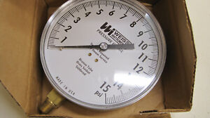 """Weiss 4CTS 15 PSI 1/4"""" NPT LM Pressure Gauge Lower w/o Liquid New Free Shipping"""