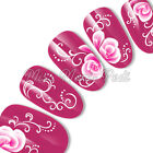 Nail Art Water Decals Transfers Stickers Pink Flowers & White Tendrils G072