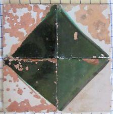 quattro riggiole piastrelle mattonelle maioliche antiche in cotto 20x20 lotto188
