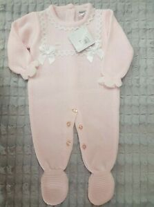 Nursery Time Spanish Knitted All in One outfit - PInk with white lace