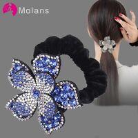 Women Rhinestone Scrunchies Elastic Hair Bands Flower Hair Ring Hair Accessories