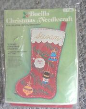 "NIP VINTAGE BUCILLA CHRISTMAS YULETIDE ORNAMENTS 19.5"" CREWEL STOCKING KITS"