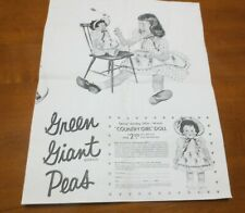 1957 Jolly Green Giant Peas Country Girl Doll Ad