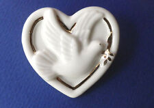 Fashion Pin Off White Ceramic Used Lenox China Heart & Peace Bird