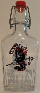 Vintage Italy Halloween Flying HAG WITCH Liquor Bottle with Lightening Stopper