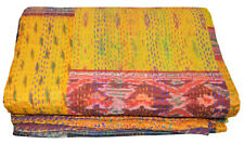 Indian Reversible Patola Kantha Quilt Yellow Twin/Single Blanket Throw Decor Art