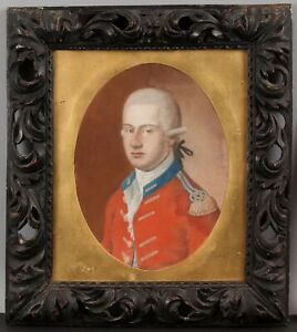 Antique 18thC Pastel Portrait Drawing, Rev War English Military Red-Coat Officer